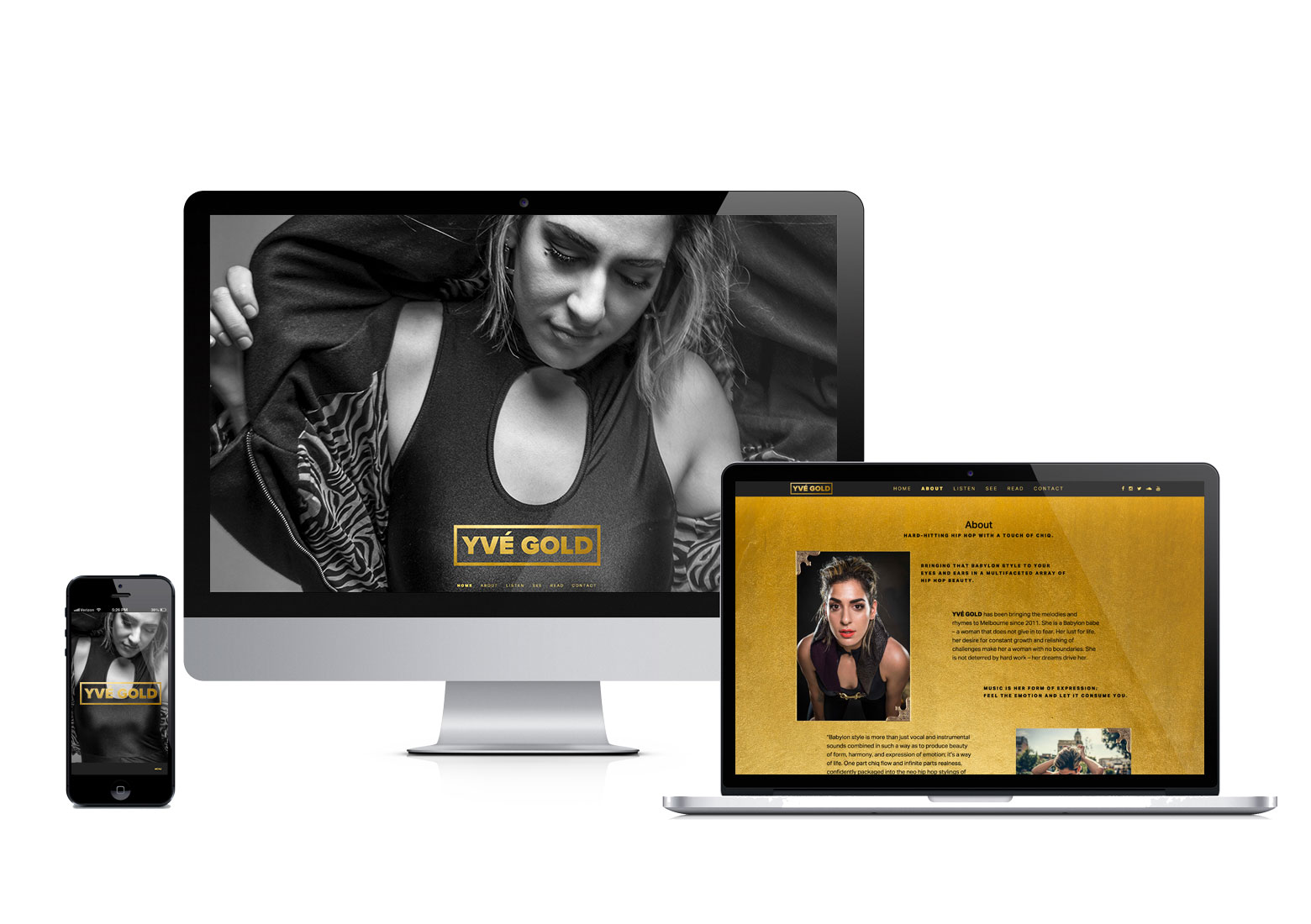 Yve Gold website and branding by Rising Creative